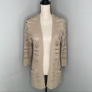 Lucky Brand cream crochet cardigan w/pockets -S